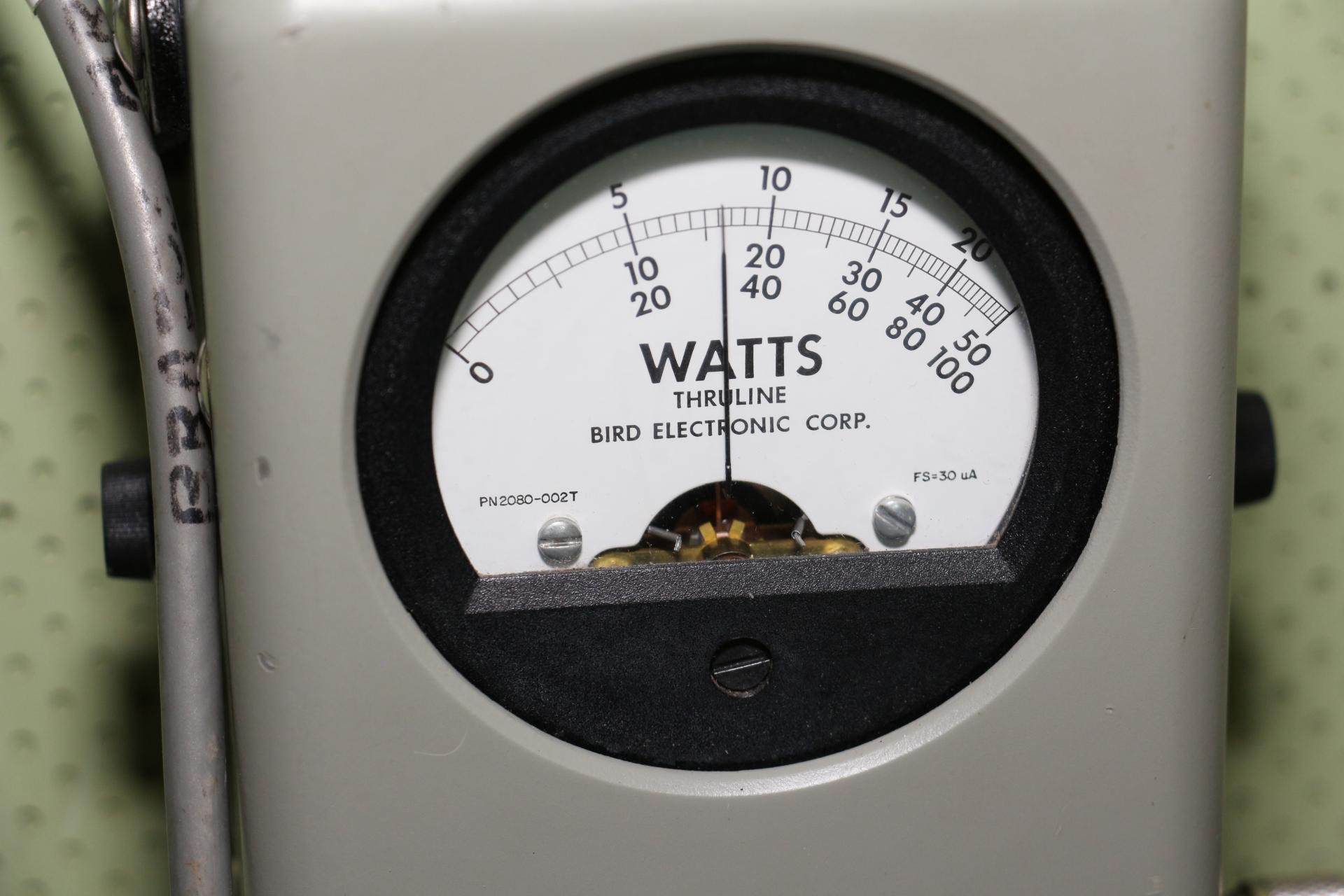 Bird wattmeter showing forward power.
